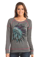 Rock & Roll Cowgirl Women's Grey Native American Sweatshirt [48T5052]