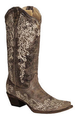 Corral Women's Brown Crater Bone Embroidery Boot [A1094]