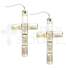 Gypsy Soule Silver Crystal Cross Earrings  [DE484]