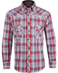 Rock & Roll Cowboy Red and Grey Plaid Shirt [B2S1354]