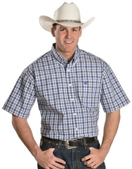 Cinch Western Shirt Mens S/S Button Up Plaid Woven Blue [MTW1111090]