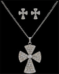 Silver Strike Crystal Cross Earring & Necklace Set [EN2290]