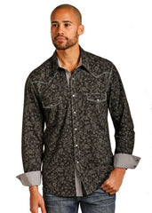 Rock and Roll Cowboy Long Sleeve Snap Floral Print  [B2S3128]