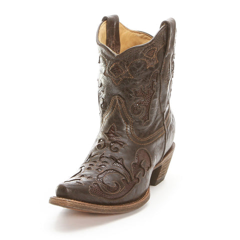 Corral Women's Brown Lizard Inlay Shorty Cowgirl Boots [C2811]