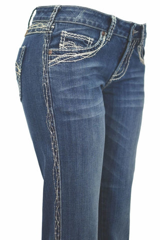 Cowgirl Tuff Women's Extreme Barbed Wire Boot Cut Jeans [JXBARW]