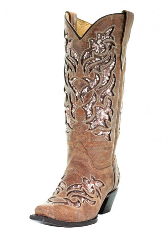 Corral Cognac Glitter Inlay and Embroidered Boots [A3578]