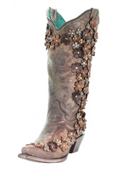 Corral Tobacco Floral Crystal and Studs Embroidered Boots [A3602]