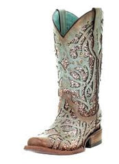 Corral Women's Square Toe Glitter Inlay & Studs Cowgirl Boot - Mint [C3402]