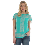WRANGLER WOMEN'S TEAL WESTERN EMBROIDERED SHORT SLEEVE TOP [LW6219G]