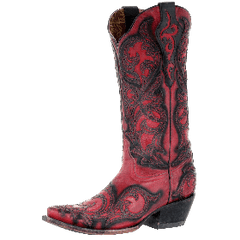 Corral Women's Snip Toe Black Overlay Cowgirl Boot - Red/Black [G1458]