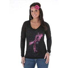 Wrangler Women's Black Knit Long Sleeve Tee with Pink Ribbon Foil [LWBK70H]