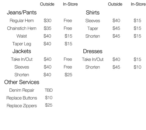 Alteration Prices at Brooklyn Denim Co.