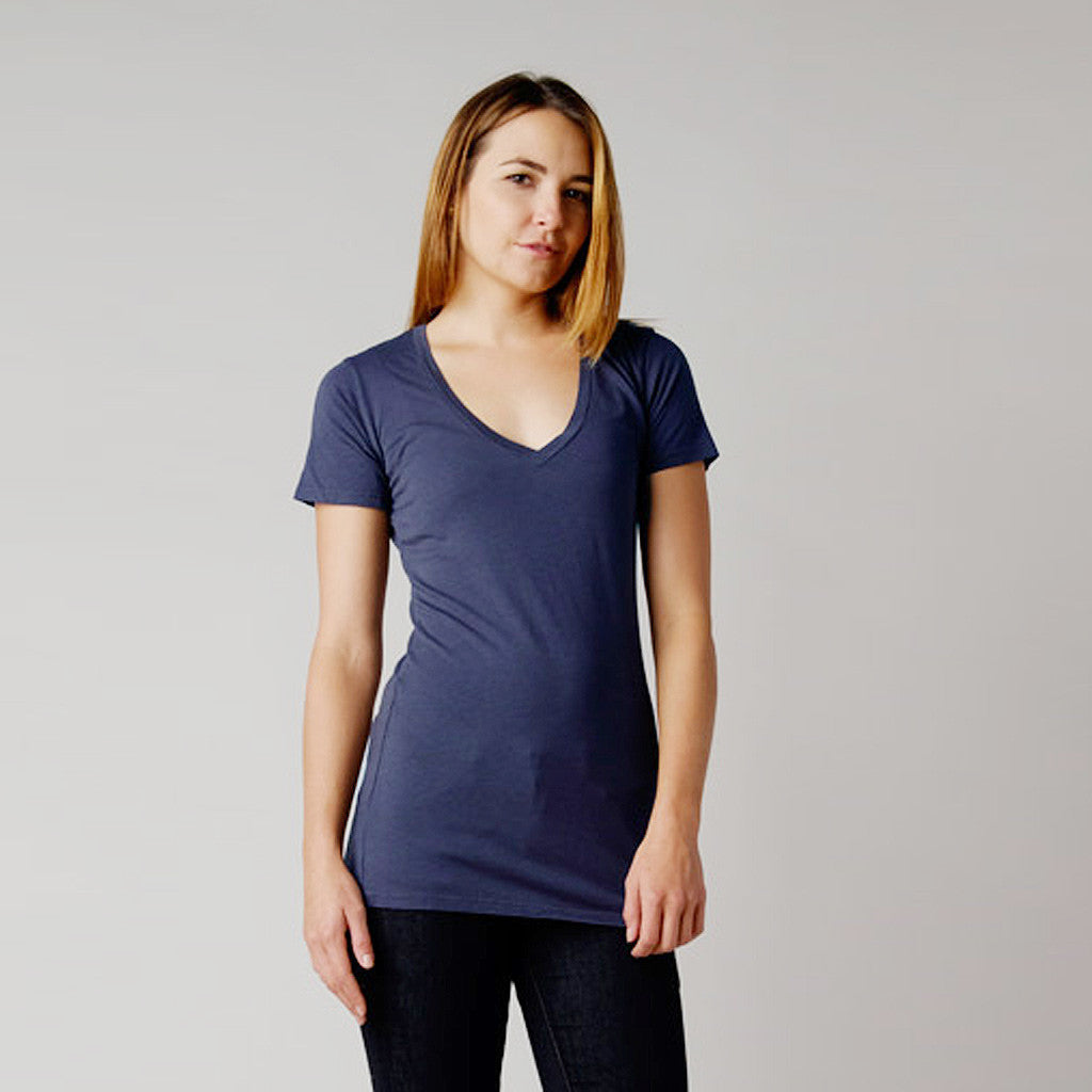 BDC Hemp/Organic Cotton Vee Neck Tee Blueberry