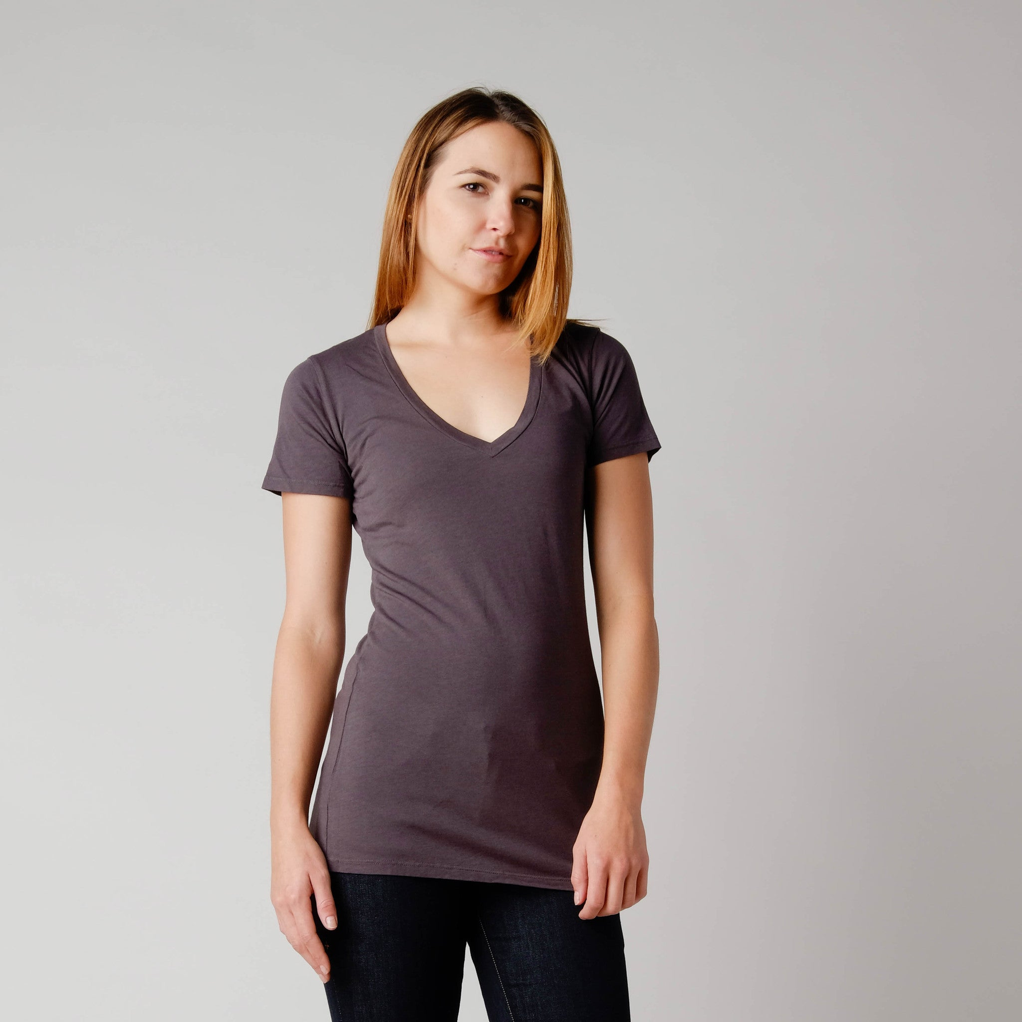BDC Hemp/Organic Cotton Vee Neck Tee Charcoal