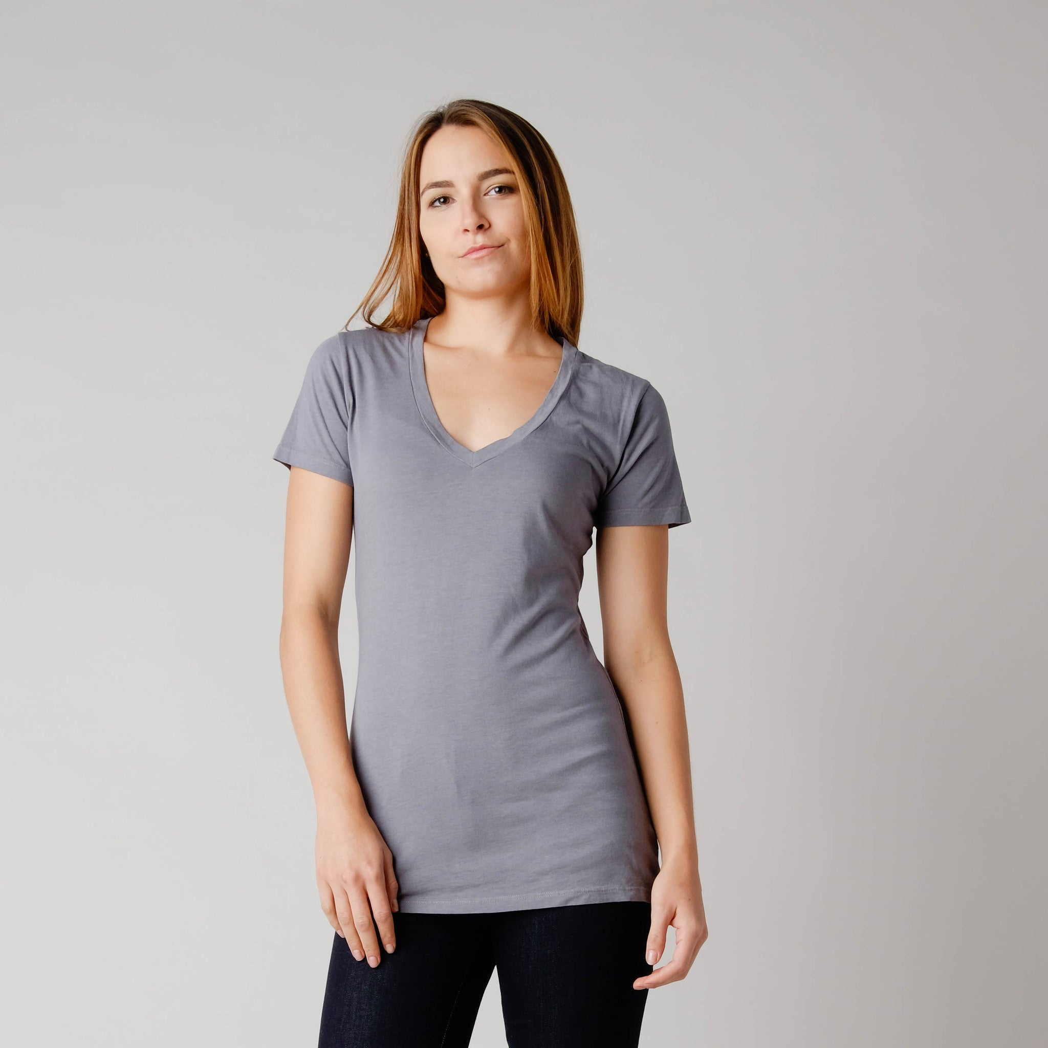 BDC Hemp/Organic Cotton Vee Neck Tee Earl Grey