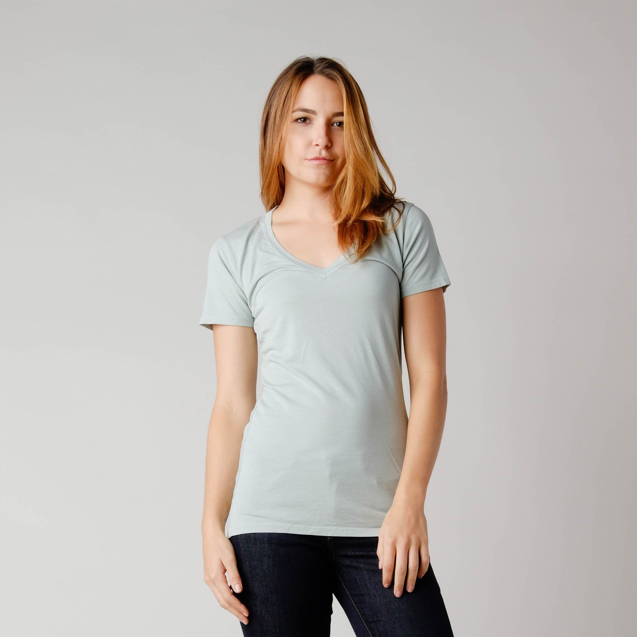 BDC Hemp/Organic Cotton Vee Neck Tee Holy Basil