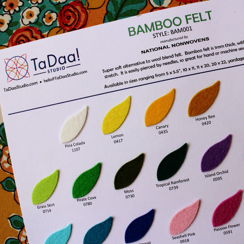 Bamboo Felt Sample Card
