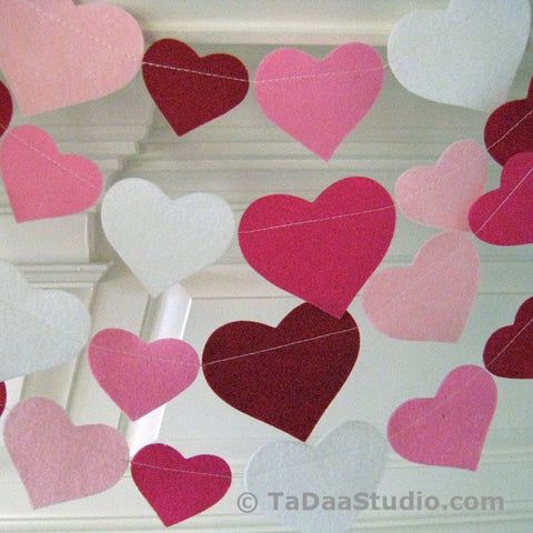 Red Hot Valentine Wool Felt Garland