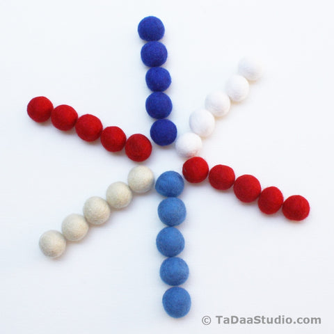 Patriotic Wool Felt Ball Palette