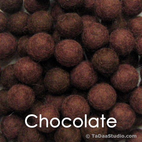 Chocolate Wool Felt Balls