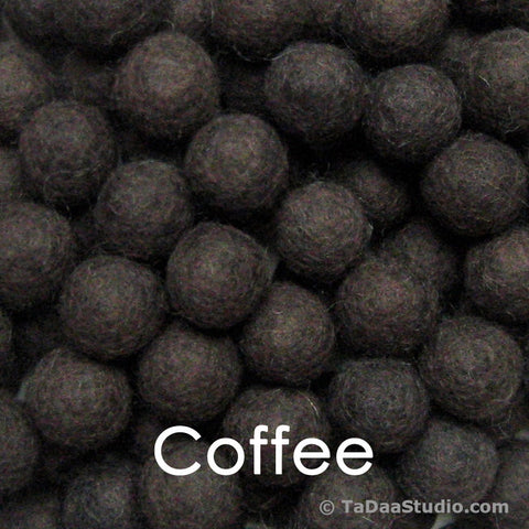 Coffee Wool Felt Balls