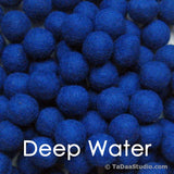 Deep Water Blue Wool Felt Balls