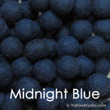 Midnight Blue Wool Felt Balls