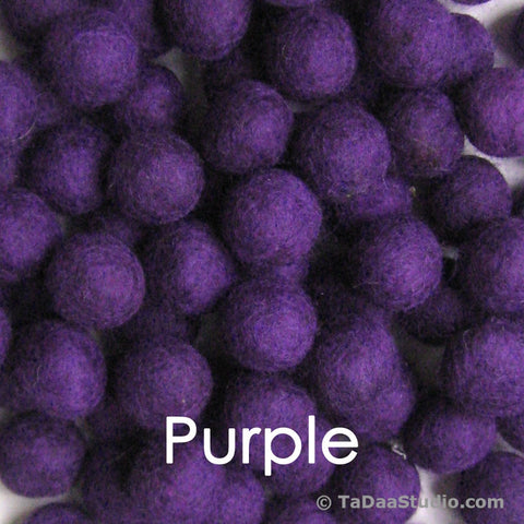 Purple Wool Felt Balls