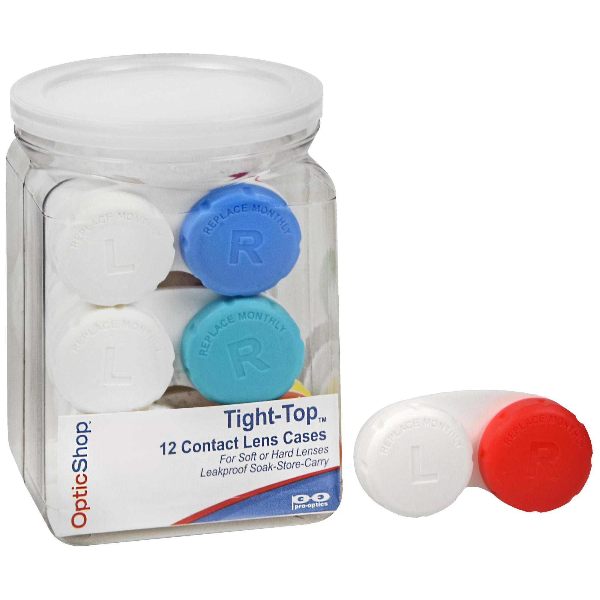 Optic Shop Tight-Top™ Contact Lens Case - 12-ct Jar (225-12)-Pro-Optics LLC