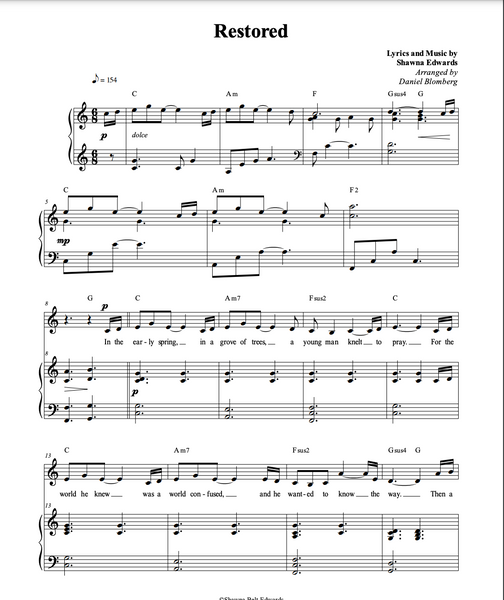Restored (vocal solo & piano with SATB chorus)
