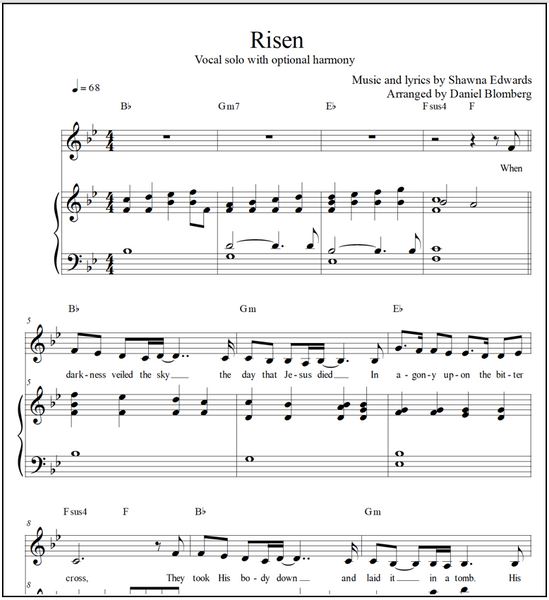 RISEN (Vocal solo & piano with optional harmony)