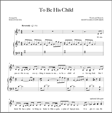 To Be His Child - Sheet Music