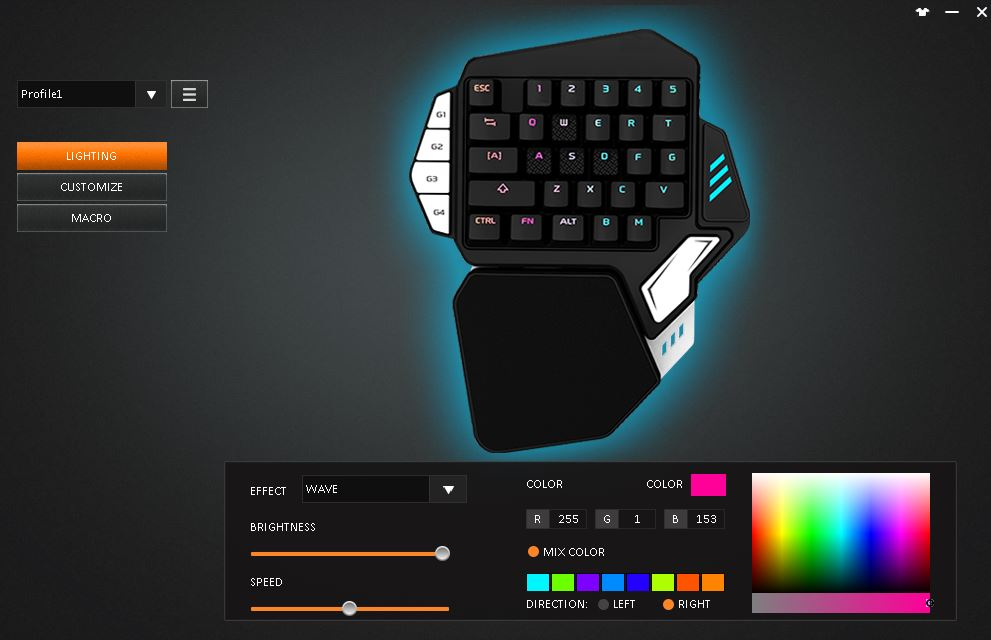 Skywin Gaming Keypad - RGB Backlit Mechanical One Handed Keyboard