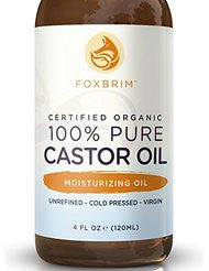 100% Pure Organic Castor Oil - Hexane Free - Premium Oil With Incredible Benefits For Hair- Skin & Nails - Lash & Brow Growth- Split End Repair- Fade Fine Lines- Heal Scars - Foxbrim 4OZ