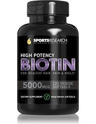 Biotin (High Potency) 5000mcg Per Veggie Softgel; Enhanced with Coconut Oil for better absorption; Supports Hair Growth- Glowing Skin and Strong Nails; 120 Mini-Veggie Softgels; Made In USA.