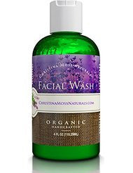 Facial Wash- Organic and 100% Natural Face Cleanser. Skin Clearing Soap- Anti Blemish- Fights Acne- Non Drying- Non Oily. No Harmful Chemicals. For Women and Men. By Christina Moss Naturals.