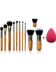 *NEW* 11 Piece Professional Makeup Brush Set with Premium Synthetic Hair and Natural Bamboo handles for Face- Cheeks and Eyes- plus includes a BONUS Complexion Beauty Sponge Blender!