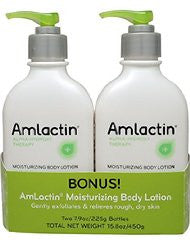 AmLactin Alpha-Hydroxy Therapy Moisturizing Body Lotion for Dry Skin- Fragrance-Free- 15.8oz Twin Pack (7.9oz per bottle)