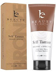 Self Tanner - Organic & Natural Sunless Tanning Lotion - Develops a Bronzer and Golden Tan Within Hours - Non-Toxic and Dye-Free For All Skin Types- Light- Fair- Medium and Sensitive. Made in the USA