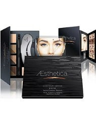 Aesthetica Cosmetics Brow Contour Kit - 15-Piece Contouring Eyebrow Makeup Palette - Includes Powders- Wax- Stencils- Spoolie/Brush Duo- Tweezers & Step-by-Step Instructions - Vegan & Cruelty Free