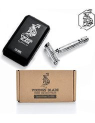 VIKINGS BLADE Double Edge Safety Razor + 5 Swedish Platinum Super Blades- Heavy Duty- 100% Pure Raw Manliness