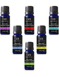 Essential Oil Blends for Aromatherapy - Best 6 blend set 100% Pure Therapeutic Grade Four Thieves- Stress Free- Rest & Relax- Breathe Easy- Pure Healing- Happy Citrus- Gift Set - 6/10 ml