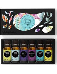 Synergy Blends- (Breathe Easier- Good Night- Hope- Relaxation- Stress Relief & Sunshine Spice) Top 6 Basic Sampler Pack Pure Therapeutic Grade Essential Oil Gift Set by Edens Garden- 6/10 ml