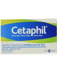 Cetaphil Antibacterial Gentle Cleansing Bar- 4.5 Ounce (Pack of 6)