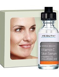 Anti Aging Vitamin C Serum For Day with Vitamin E and Hyaluronic Acid- Anti Wrinkle- Fill Fine Lines- Evens Skin Tone- Fades Age Spots- Medical Grade Skin Care Formula For Face - YEOUTH
