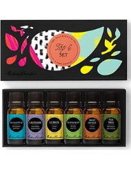 Top 6 100% Pure Therapeutic Grade Basic Aromatherapy Sampler Essential Oil Gift Set- 6/10 ml of Eucalyptus- Lavender (Bulgarian)- Lemon- Peppermint- Sweet Orange and Tea Tree by Edens Garden