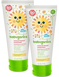 Babyganics Mineral-Based Baby Sunscreen Lotion- SPF 50- 6oz Tube (Pack of 2)