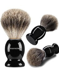 Perfecto 100% Pure Badger Shaving Brush With Black Handle-Engineered to deliver the Best Shave of Your Life!!! No Matter what method you use- Safety Razor- Double Edge Razor- Straight Razor or Shaving Razor- This is the Best Badger Brush!!!