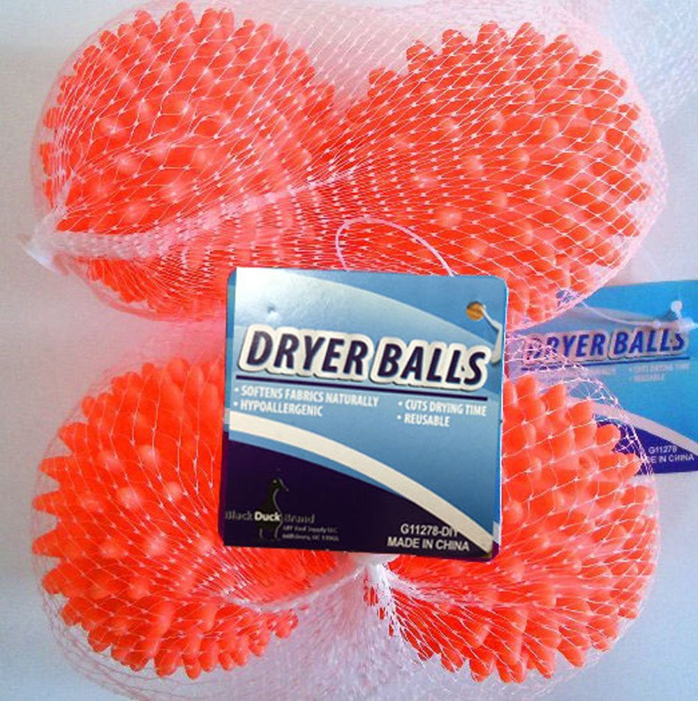 Dryer Balls 4 Pack Orange- Reusable Dryer Balls Replace Laundry Drying Fabric Softener and Saves You Money