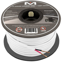 14AWG 2-Conductor Speaker Wire (100 Feet, White) by Mediabridge - 99.9% Oxygen Free Copper - UL Listed CL2 Rated for In-Wall Use (Part# SW-14X2-100-WH )